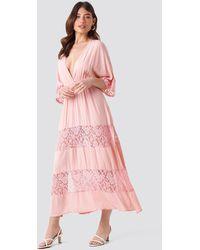 Trendyol Tulum Lace Maxi Dress - Roze