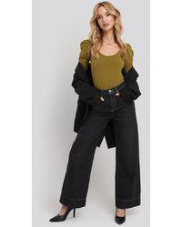 Trendyol Stitching High Waist Wide Leg Jeans - Noir