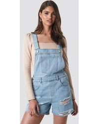 NA-KD Distressed Denim Short Dungarees - Blau