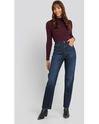 NA-KD High Waist Raw Hem Straight Jeans - Bleu