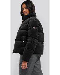 Tommy Hilfiger Velvet Puffa Jacket - Zwart