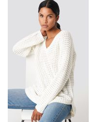 NA-KD - V-neck Pineapple Knitted Sweater Offwhite - Lyst