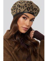 NA-KD Accessories Leopard Beret Hat - Braun