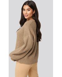 NA-KD Dropped Shoulder Oversized Knitted Sweater - Naturel