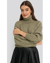NA-KD - High Neck Cable Knitted Sweater - Lyst