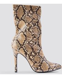 NA-KD Brown,multicolor High Heel Snake Pu Stiletto Boot