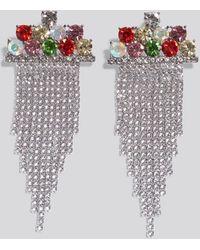 NA-KD Multi Color Hanging Strass Earrings - Meerkleurig