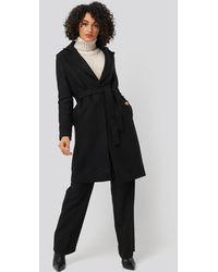 Trendyol Belt Woolen Coat - Zwart