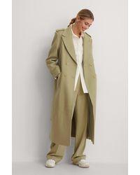 NA-KD Green Maxi Coat