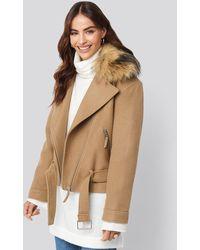 NA-KD Faux Fur Collar Biker Jacket - Meerkleurig