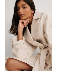 NA-KD Beige Balloon Sleeve Belted Trench Coat - Natural
