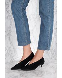 NA-KD Black Plunge Kitten Heel