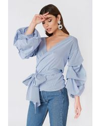 Boohoo - Rouched Sleeve Top - Lyst