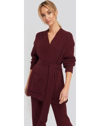 NA-KD Recycled Belted Open Ribbed Cardigan - Paars