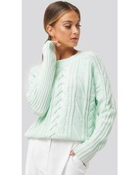 NA-KD - Round Neck Cable Knitted Sweater - Lyst
