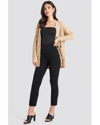 NA-KD High Waist Tapered Leg Jersey Pants - Zwart