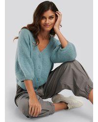 NA-KD Balloon Sleeve Short Knitted Cardigan - Blau