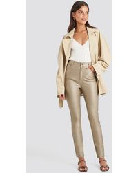 NA-KD Beige Coated Cotton Trousers - Natural