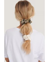 NA-KD Brown,white,multicolor 2-pack Leo Mix Scrunchies