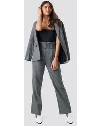 NA-KD Small Check Paperbag Suit Pants - Gris