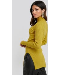NA-KD - Side Split Ribbed Sweater - Lyst