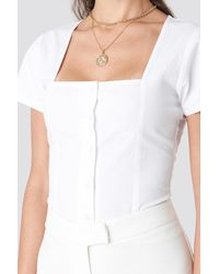 NA-KD Square Neckline Buttoned Top - Wit