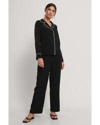 Trendyol Black Piping Pyjamas Set