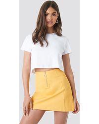 NA-KD Ring Puller A-line Mini Skirt - Geel