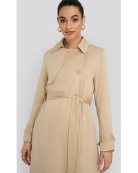 NA-KD Mac Trench Coat Beige - Natural
