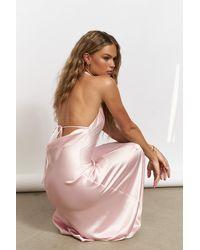 NA-KD Pink Open Back Maxi Satin Dress