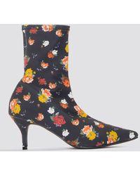 NA-KD Kitten Heel Sock Boot Multicolour - Blue