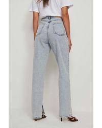 NA-KD Trend Organisch Jeans Met Zijsplit - Blauw