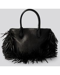 NA-KD Accessories Fringe Beach Bag - Schwarz