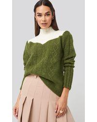 Trendyol Colorblock Knitted Sweater - Groen