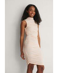 NA-KD - Beige Organic Gathered Sleeveless Jersey Dress - Lyst