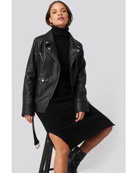 NA-KD Donnaromina x Oversized Detail Faux Leather Jacket - Schwarz