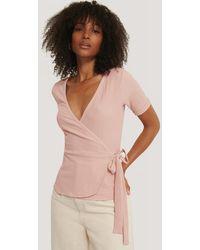 NA-KD Pink Wrap Crepe Short Sleeve Top