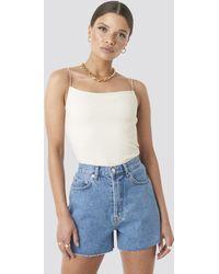 NA-KD Denim High Waist Shorts - Bleu