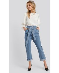 NA-KD Belted Paperbag Turn Up Jeans - Blauw