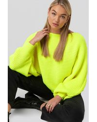 NA-KD Ribbed Batwing Sweater - Geel