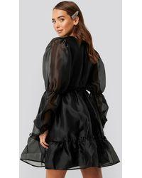NA-KD Black Organza Puff Sleeve Dress