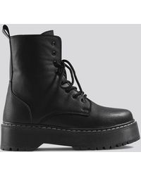 NA-KD Chunky Rubber Sole Combat Boots Black