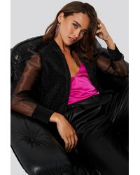 Trendyol Organza Detailed Knitted Jacket - Zwart