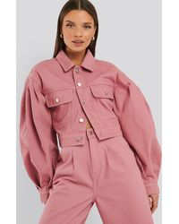 NA-KD Puff Sleeve Oversized Denim Jacket - Roze
