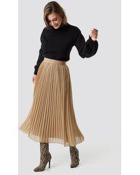 NA-KD Beige Pleated Skirt - Natural