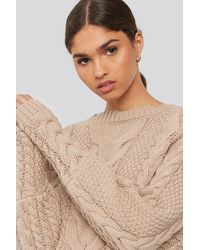 NA-KD - Cable Knitted Ribbed Sleeve Sweater - Lyst