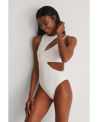 NA-KD Swimwear Gerecycleerd Gedetailleerd Badpak - Wit