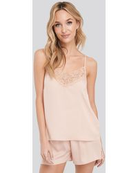 NA-KD Lace Edge Night Satin Singlet - Rose