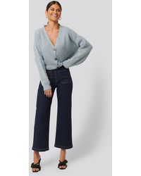 NA-KD Blue High Waist Big Pocket Culottes