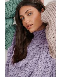 Trendyol Purple High Collar Block Sweater